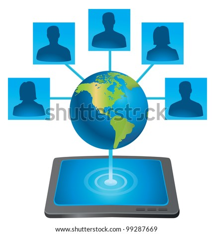 tablet pc connecting with world - vector illustration