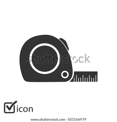 Tape measure icon. Roulette construction  simbol.