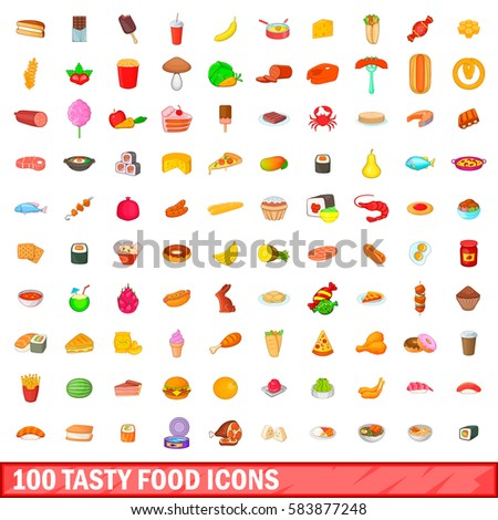 100 tasty food icons set in cartoon style. Illustration of 100 tasty food vector icons for web isolated