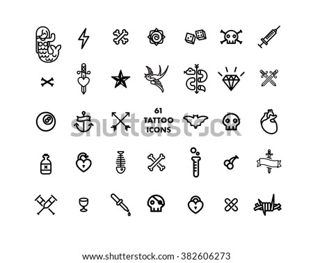 61 tattoo set minimal vector icon