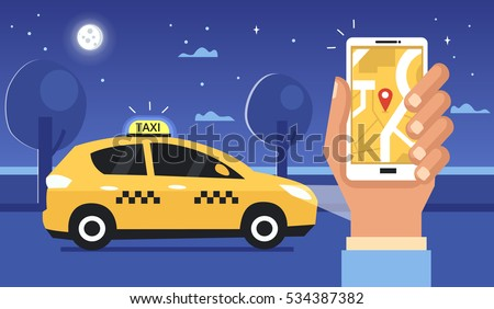 taxi at night concept man