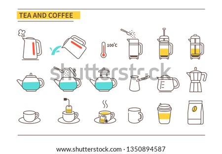 Tea and coffee instruction icons. Line style vector illustration isolated on white background.