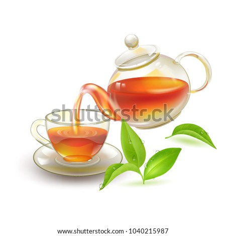 Tea. Fresh brewed black tea in a glass vat, poured tea into the cup. A beautiful kettle and a cup with green young leaves in the dew. Stock vector.
