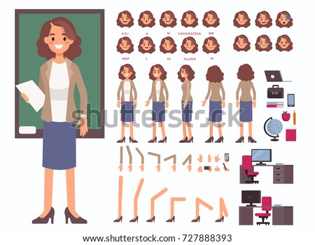 Teacher woman character constructor and objects for animation.  Set of various women's poses, faces, mouth, hands, legs. Flat style vector illustration isolated on white background.