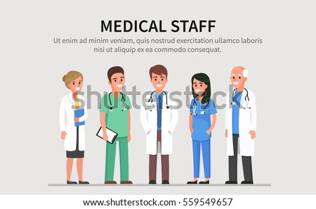 Team of doctors and other hospital workers stand together. Vector people illustration isolated with text place.