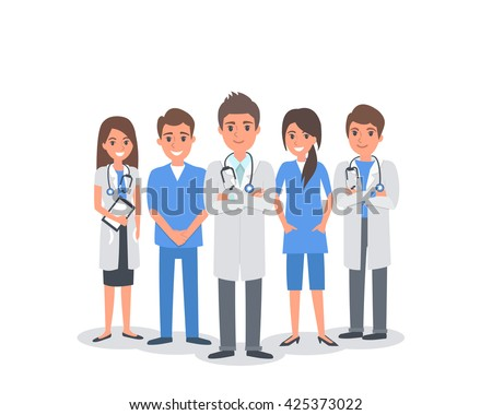 Team of doctors and other hospital workers stand together. Vector people illustration isolated on white background.