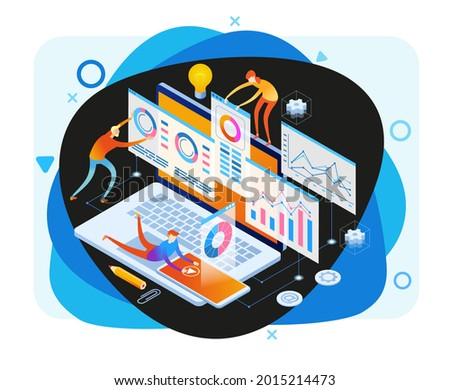 А team of people build a chart and graphs. Concept of the idea of innovative data analysis. Data analysis. Page template. 3d isometric illustration Сток-фото ©