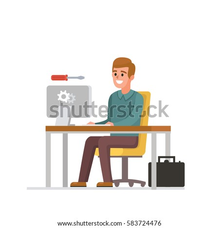 Technician at work. Computer service vector illustration.