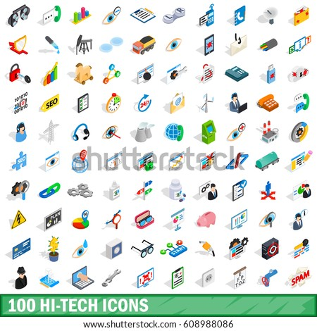 100 technology icons set in isometric 3d style. Illustration of technology icons set isolated vector for any design