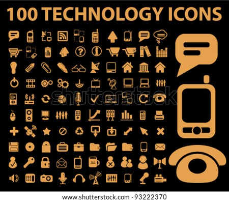 100 technology icons set, vector