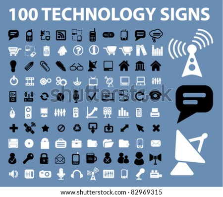 100 technology signs, icons, vector