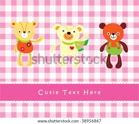 3 teddy bear friends card
