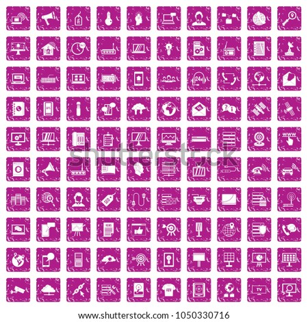 100 telecommunication icons set in grunge style pink color isolated on white background vector illustration