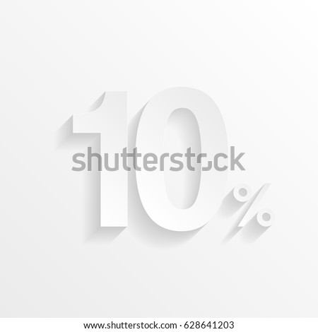 10% - Ten Percent with shadow. Cut paper isolated on a white background. Vector illustration.