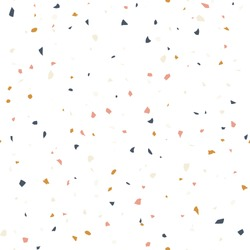 Terrazzo flooring textured surface modern abstract pattern. Vector seamless abstract repeat with chips of marble or granite in soft pastel  colors.