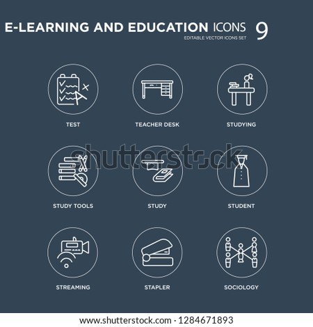 9 Test, Teacher desk, Streaming, Student, Study, Studying, Study tools, Stapler modern icons on black background, vector illustration, eps10, trendy icon set.