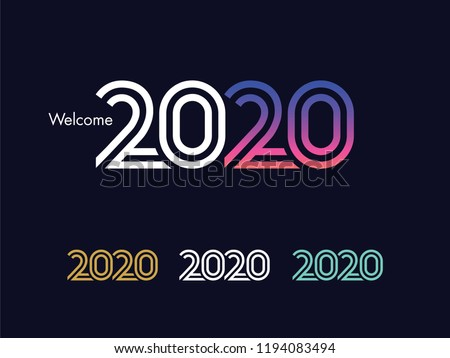 2020 Text Design - Modern 2020 Text Design, Perfect For Website, Annual Report, Poster, Editorial, Invitation Card, Banner And Others. Scalable and Editable Colour. Vector.