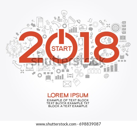 2018 text design on creative business success strategy. Concept modern template layout? 2017 text surrounded by doodle icons