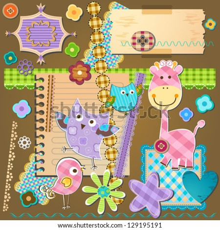 textured design elements for scrapbooking - stock vector