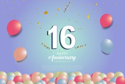 16th anniversary background with 3D number and balloons illustration