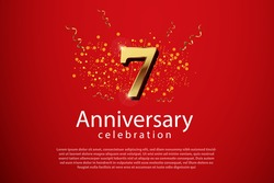 7th anniversary background with 3D number illustration