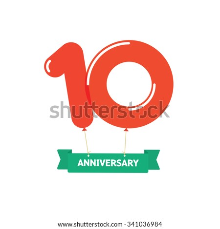 10th anniversary balloons poster red label 10 years trend modern logotype icon sticker design - Th anniversary symbol ...
