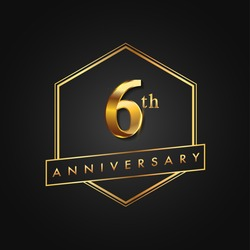 6th Anniversary Celebration. Anniversary logo with hexagon and elegance golden color isolated on black background, vector design for celebration, invitation card, and greeting card