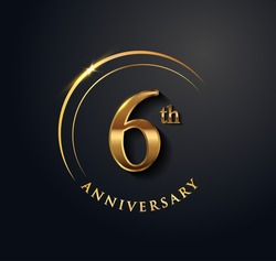 6th Anniversary Celebration. Anniversary logo with ring and elegance golden color isolated on black background, vector design for celebration, invitation card, and greeting card.