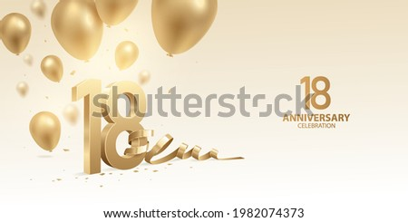 18th Anniversary celebration background. 3D Golden numbers with bent ribbon, confetti and balloons. Сток-фото ©