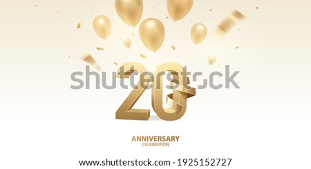 20th Anniversary celebration background. 3D Golden numbers with golden bent ribbon, confetti and balloons. Stockfoto ©