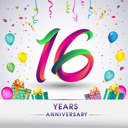 16th Anniversary Celebration Design, with gift box, balloons and confetti, Colorful Vector template elements for your, sixteen years birthday celebration party.