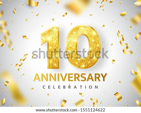 10th Anniversary celebration. Gold numbers with glitter gold confetti, serpentine. Festive background. Decoration for party event. Tenth year jubilee celebration. Vector illustration. Stock photo ©