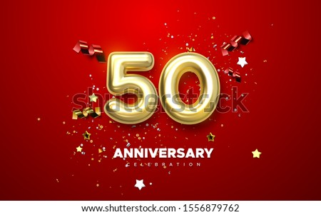 50th Anniversary celebration. Golden number 50 with sparkling confetti, stars, glitters and streamer ribbons. Vector festive illustration. Realistic 3d sign. Birthday or wedding party event decoration