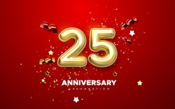 25th Anniversary celebration. Golden number 1 with sparkling confetti, stars, glitters and streamer ribbons. Vector festive illustration. Realistic 3d sign. Birthday or wedding party event decoration