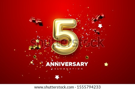 5th Anniversary celebration. Golden number 5 with sparkling confetti, stars, glitters and streamer ribbons. Vector festive illustration. Realistic 3d sign. Birthday or wedding party event decoration