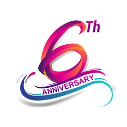 6th anniversary celebration logotype blue and red colored. six years birthday logo on white background.
