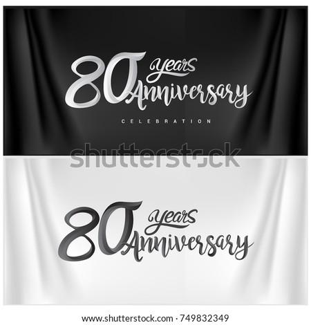 80th Anniversary Celebration Logotype. Happy Anniversary Calligraphy. Vector Illustration.