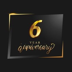 6th anniversary celebration logotype with handwriting golden color elegant design isolated on black background. vector anniversary for celebration, invitation card, and greeting card.