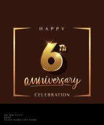 6th anniversary celebration logotype with handwriting golden color elegant design isolated on dark background. vector anniversary for celebration, invitation card, and greeting card.