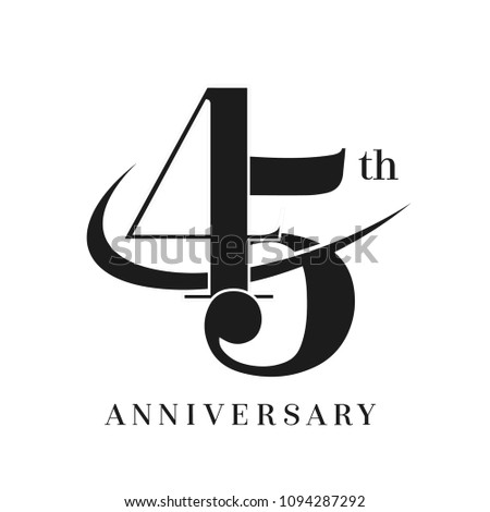 45th Anniversary Celebration simple monogram Design. pictogram vector icon, simple years birthday logo label, black and white stamp isolated Photo stock ©