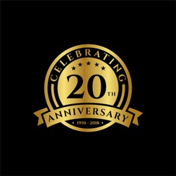 20 th Anniversary celebrations emblems vector , anniversary template design for web, game ,Creative poster, booklet, leaflet, flyer, magazine, invitation card and other us