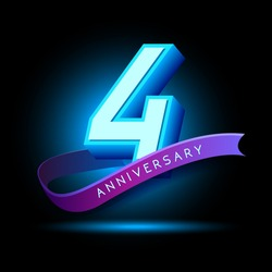 4th Anniversary 3D text with glow effect .celebration vector  template design