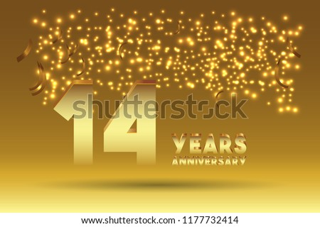14th Anniversary gold numbers. background for anniversary #1177732414
