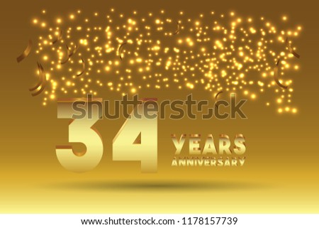 34th Anniversary gold numbers. background for anniversary #1178157739