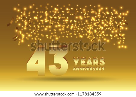 43th Anniversary gold numbers. background for anniversary #1178184559