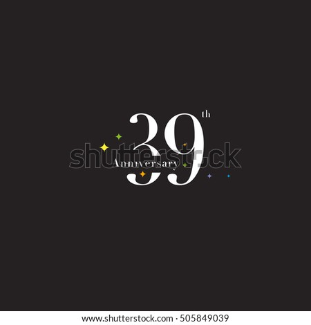 39 th Anniversary logo template, 39 th birthday icon, Vector. #505849039