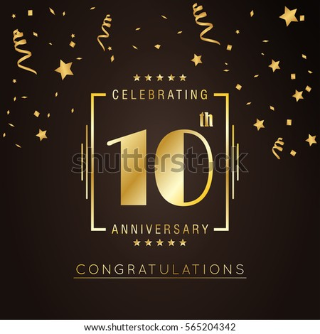 10th anniversary logo with golden rectangle vector template for birthday celebration.