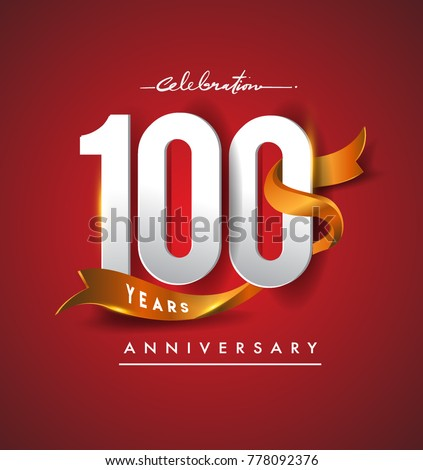 100th anniversary logotype with golden ribbon isolated on red elegance background, vector design for birthday celebration, greeting card and invitation card.