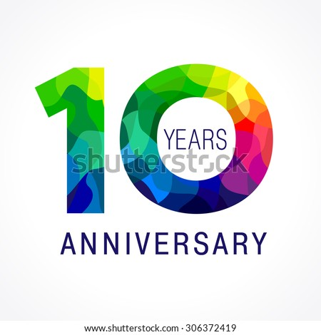 10 th anniversary numbers. 10s years old logotype. Bright congrats. Isolated abstract graphic design template. Creative 1, 0 3D digits. Up to 10% -10% percent off discount sign. Congratulation concept ストックフォト ©