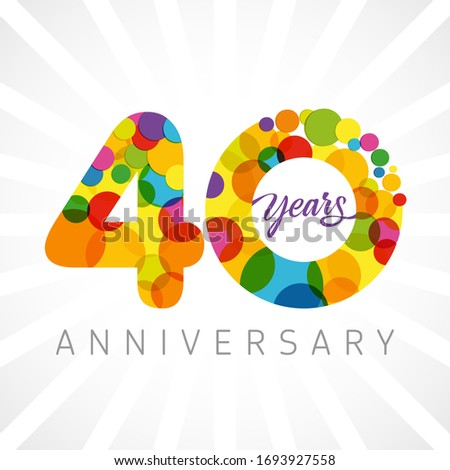40 th anniversary numbers. 40 years old multicolored congrats. Cute congratulation concept. Isolated abstract graphic design template. Age digits. Up to 40%, -40% percent off discount. Decorative sign
